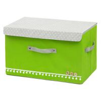 优芬收纳盒日式扣扣两件套37*25*25cm/25*20*17cm―绿色白盖