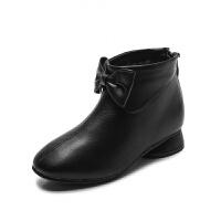女童靴子2018秋冬新款�和�短靴中大童小高跟皮鞋蝴蝶�Y�r尚公主靴