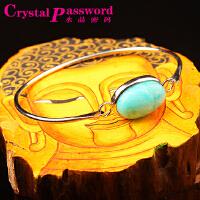 水晶密码CrystalPassWord天然天河石镶嵌合金手镯(附宝石鉴定证书)SJMM3-049