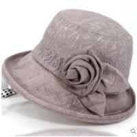 女士礼帽老年人帽子女蝴蝶结薄女帽时装帽遮阳帽盆帽中老年凉帽