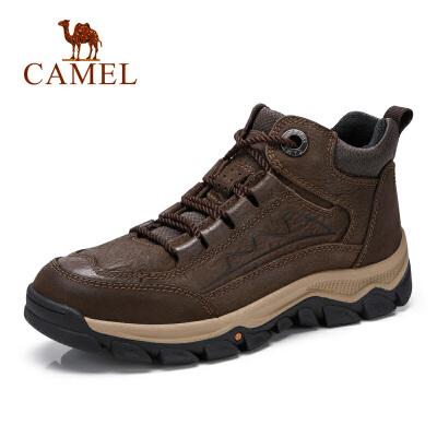 camel骆驼男鞋秋季新款工作靴户外运动休闲牛皮防滑潮流高帮鞋男靴