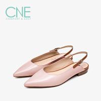 【顺丰包邮,大牌价:294】CNE2019夏季新款凉鞋女仙女风温柔鞋拼色后一字带女凉鞋AM12704