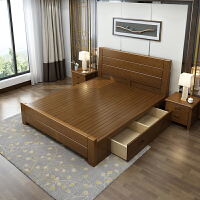 实木床1.8米中式高箱卧室双人床婚床1.5m橡木储物主卧一米八的床