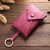 汽车钥匙包女韩国创意小真皮牛皮潮多功能卡包约匙包二合一 迷你可爱个性抽拉钥匙扣