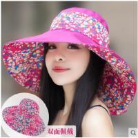 夏天遮阳帽女士大檐可折叠双面可戴韩版防晒防紫外线太阳帽