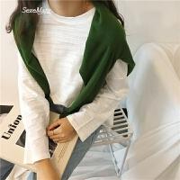 新款韩国学院风百搭圆领竹节棉纯色宽松T恤上衣女 均码