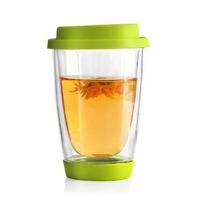 耐热玻璃杯 硅胶盖茶杯 创意花茶杯子 玻璃杯子硅胶杯底耐热带盖过滤花茶杯水杯办公杯子 颜色随机