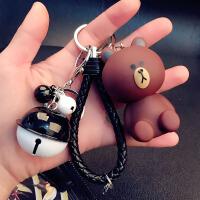 2018082422210241018新品机器猫钥匙扣女韩国可爱创意卡通个性汽车钥匙链圈环书包挂件礼物 米白色 坐熊+