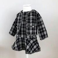 女童连衣裙秋季2018新款长袖韩版3-4-5-6岁女宝宝裙子套装两件套 黑白色