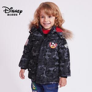 迪士尼宝宝童装中小童迪斯尼经典男童梭织中长款羽绒服2018秋款上新