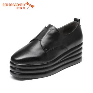 红蜻蜓女鞋平底舒适女单鞋厚底真皮休闲圆头套脚板鞋