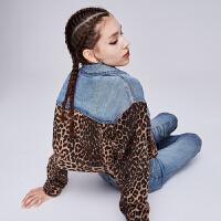 dzzit地素 2019秋专柜新款帅气豹纹拼接短款牛仔外套女3G3F7074W