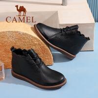 Camel/骆驼冬季新款 简约时尚休闲舒适质感淑女系带短靴女