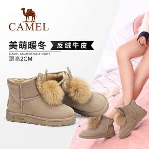 Camel/骆驼女鞋 2018冬季新品 时尚美萌兔耳毛球饰保暖舒适雪地靴