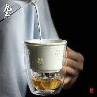双层隔热茶杯办公用带过滤隔 简易泡�G茶杯玲珑花茶漏玻璃水杯
