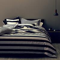 床上四件套黑白格子条纹简约北欧纯棉全棉被套床单式床笠款个性黑