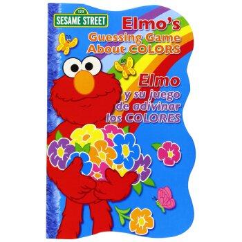 【现货】进口原版 Elmo's Guessing Game About Colors 芝麻街纸板书:颜色猜谜游戏 西班牙语与英语 双语版 木板书 国营进口!品质保证!