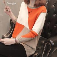 女士小毛衣女短款圆领套头打底衫拼色春装2018新款韩版宽松时尚潮 桔色+卡其 S