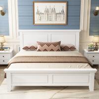 原木床美式家具 实木床1.8米主卧室大床双人床 现代简约1.5米白色欧式床