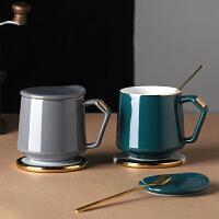 光一马克杯子带有盖勺子的清新简约现代文艺北欧风格ins陶瓷复古水杯
