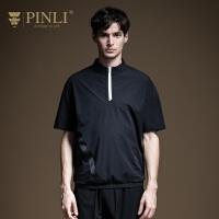 PINLI品立2020夏季新款男�b青年�r尚�\�语L立�I短袖T恤B202311241
