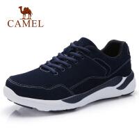 camel骆驼男鞋 秋季新品休闲反绒牛皮健步鞋缓震轻盈跑步运动鞋