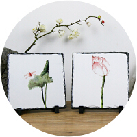 【包邮】 原创国画创意石板绘画作品艺术衍生品生活家居摆件装饰环保艺术家石版画20*20cm