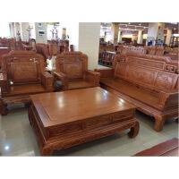 沙发家具沙发木色菠萝格木实木雕花国色天香沙发直销