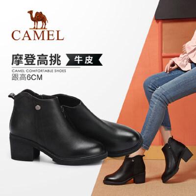 Camel/骆驼2018冬季新款 摩登时尚大气舒适气质粗跟女靴