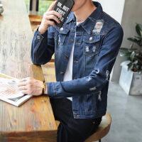 牛仔外套男2018春季新款韩版潮流休闲翻领褂子春秋破洞薄夹克上衣