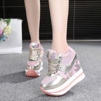 内增高鞋女鞋韩版休闲鞋超高跟厚底鞋运动鞋低帮透气百搭系带女鞋