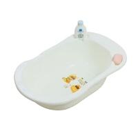 婴儿不可折叠宝宝洗澡盆儿童新生儿便携可坐躺小号加厚沐浴桶 乳白色浴盆