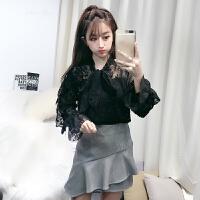 蝴蝶结蕾丝衬衫女长袖2018春装新款韩版雪纺衫钩花两件套打底上衣 黑色 均码