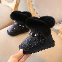 女童雪地靴2018新款儿童冬季保暖加绒小童靴子女宝宝冬靴软底短靴