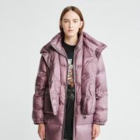 DAZZLE地素 2019冬专柜新款白鸭绒立领层叠羽绒服外套女2G4K3071Y