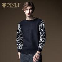PINLI品立2020秋季新款男装外穿长袖套头毛衣针织衫男B203210076