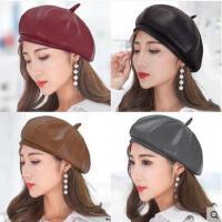 新款时尚女帽女贝雷帽子秋冬皮帽韩版百搭八角蓓蕾帽韩国可爱