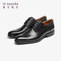 莱尔斯丹 男鞋时尚商务正装圆头系带德比鞋粗跟低跟男鞋皮鞋LS ATM31971