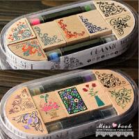 古典边角花边套装 韩国文具可爱印章组 7枚印章+2印泥笔