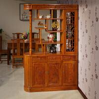 新中式实木玄关柜客厅隔断柜门厅双面雕花中式鞋柜酒柜屏风柜 整装
