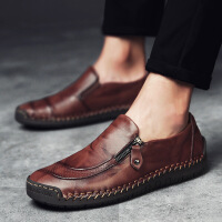 手工缝制皮鞋男休闲鞋豆豆鞋套脚大码真皮一脚蹬鞋
