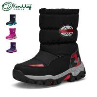 乖乖狗童鞋冬季男童雪地棉靴儿童加厚保暖防滑防水中大童靴子
