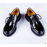 儿童皮鞋 男童系带  男童黑色光面 男生亮面新款系带软西装礼服皮鞋中大童