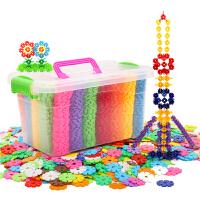 雪花片积木无磁力塑料1200拼插男女孩1-2儿童3-6周岁玩具