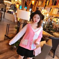 自制胖mm2018秋装新款甜美粉色针织棉外套大码女装V领减龄上衣M 粉红色 现货 X
