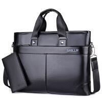 男包手提皮包大容量商务电脑包男士单肩斜挎包实用三件套LR