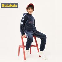 巴拉巴拉男童套装秋冬2109新款儿童衣服中大童加绒加厚连帽两件套