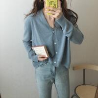 秋季韩版女装宽松短款纯色兔绒针织衫开衫女学生薄款V领毛衣外套 均码