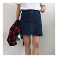 高腰短裙拉链毛边纯色包臀裙春装新款牛仔半身裙A字裙牛仔裙 深蓝色 S