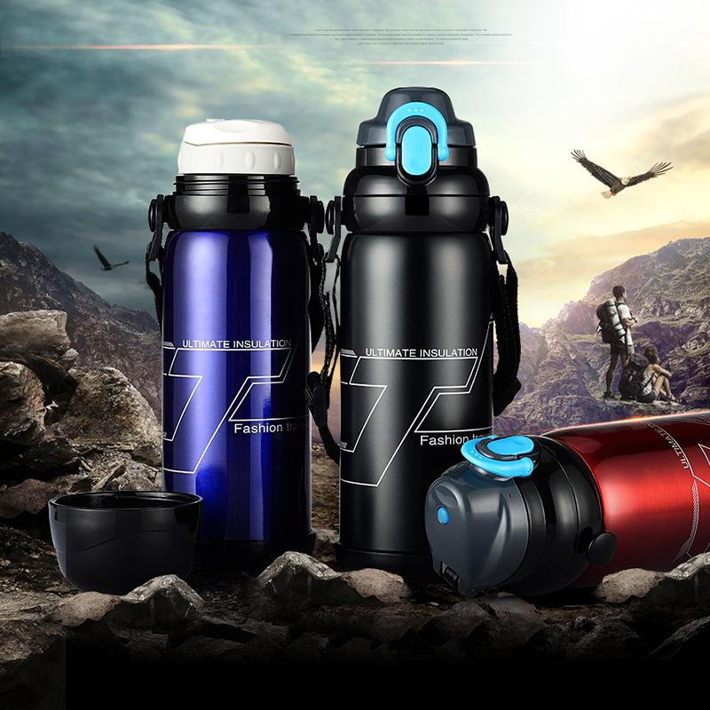 真空不锈钢保温壶800ML 旅游运动水壶车载热水壶大容量保温杯开水瓶不锈钢旅行壶